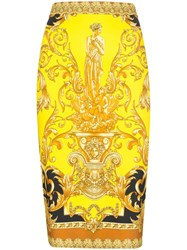 Versace Baroque Print Fitted Midi Skirt 60