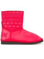 Love Moschino Logo Embossed Ankle Boots Red