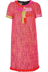 Boutique Moschino Embellished Tweed Mini Dress Pink