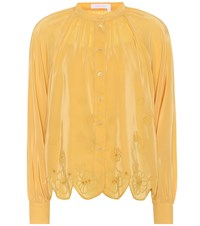 See By Chloe Embroidered Silk Blend Blouse Yellow
