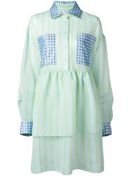 Natasha Zinko Striped Flared Shirt Dress Blue