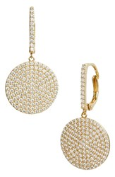 Nordstrom Pave Medium Disc Drop Earrings Clear Gold