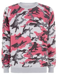 Wolsey Printed Camo Crew Neck Pull Over Jumper Magenta