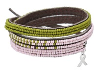 Chan Luu 3 Wrap Ombre Seed Bead Bracelet With Breast Cancer Ribbon Charm Pastel Pink Mix Charms Bracelet Gold