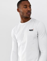 Superdry Orange Label Vintage Embroidery Long Sleeve T Shirt In White