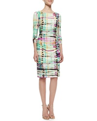 Kay Unger New York Ruched Front Sheath Dress Multi