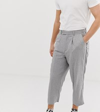 Noak Wide Fit Tapered Trousers With Pleats And Side Tape Detail Grey