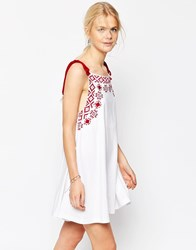 Asos Embroidered Swing Sundress With Rope Straps White