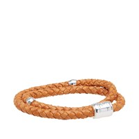 Miansai Silver Casing Leather Bracelet Brown