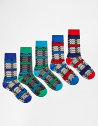 Asos Socks 5 Pack In Zig Zag Texture Multi