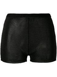Balmain Knit Hot Pants Women Polyester Acetate 40 Black