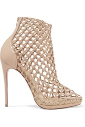 Christian Louboutin Porligat 120 Woven Leather Ankle Boots Beige