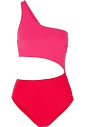 Stella Mccartney Cutout One Shoulder Two Tone Swimsuit Red