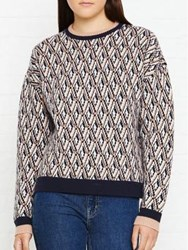 Whistles Diamond Crew Neck Jumper Pink