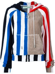Off White Stripe Panel Hoodie Women Cotton S Blue