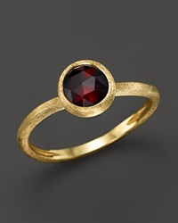 Marco Bicego 18K Yellow Gold Engraved Jaipur Stackable Ring With Garnet Red Gold