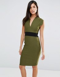 Vesper Cap Sleeve Pencil Dress With Waistband Khaki Green