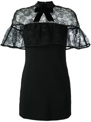 Self Portrait Velvet Bow Lace Cape Dress Black