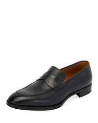 Giorgio Armani York Textured Leather Penny Loafer With Rubber Sole Navy
