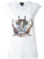 Just Cavalli Microphone Print T Shirt White