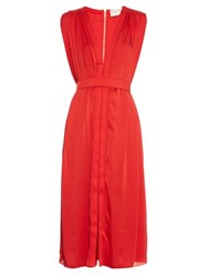Maison Rabih Kayrouz V Neck Crepe Dress Red