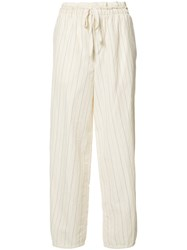Loewe Striped Cropped Trousers White