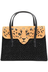 Charlotte Olympia Cutout Two Tone Embellished Suede Tote Black