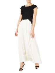 Jacques Vert Embroidered Bodice Maxi Dress Black White