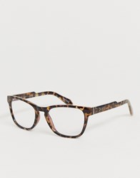 Quay Australia Hardwire Mini Square Blue Light Lens Glasses In Tort Brown