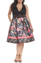 Mac Duggal Plus Size Women's Lace And Floral Halter Fit And Flare Dress Black Multi