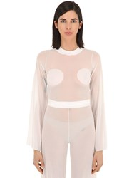 Courreges Gerbe Sheer Stretch Top White