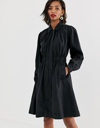Y.A.S Premium Ruched Detail Trench Coat In Black