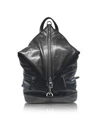 Jimmy Choo Fitzroy Black Satin Leather Backpack W Mini Studs