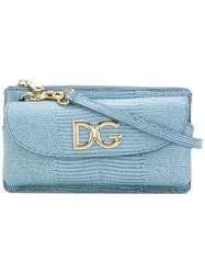 Dolce And Gabbana Mini Logo Crossbody Bag Women Leather One Size Blue