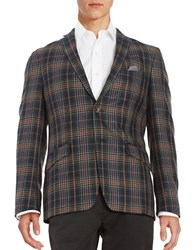 Tallia Orange Slim Fit Plaid Blazer Navy Grey
