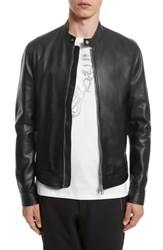 Versace Collection Cafe Racer Leather Jacket Black