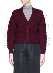 Toga Archives Faux Leather Ribbon Knit Cardigan Purple