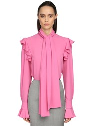 Alexander Mcqueen Georgette Blouse W Self Tie Bow Collar Pink