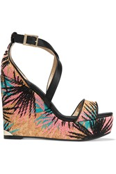 Jimmy Choo Portia Embroidered Cork And Leather Wedge Sandals Black Neutral