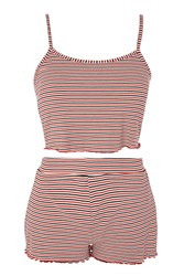 Topshop Striped Pyjama Set Red