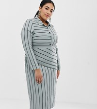 Lost Ink Plus Midi Shirt Dress With Split In Stripe Blue Stripe