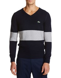 Lacoste Golf Cotton Textured V Neck Sweater Blue