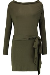 Haute Hippie Draped Modal Jersey Mini Dress Army Green