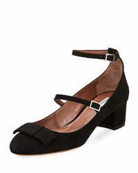 Tabitha Simmons Rubia Suede Double Buckle Pump Black