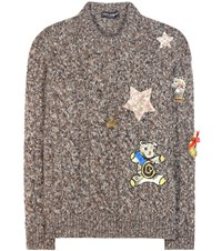 Dolce And Gabbana Cashmere Sweater With Applique Brown