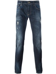 Dolce And Gabbana Crown Bee Patch Jeans Blue