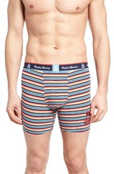 Psycho Bunny Men's Stretch Cotton Boxer Briefs Ginger Stripe
