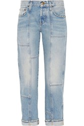 Current Elliott The Patchwork Crossover Mid Rise Straight Leg Jeans Mid Denim