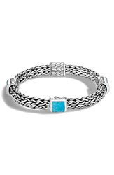 John Hardy Women's Classic Silver And Turquoise Chain Bracelet