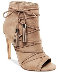 Madden Girl Korset Tie Up Tassle Booties Women's Shoes Taupe
